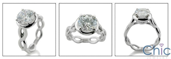 Solitaire 1.5 Round CZ Solitiare Eternity Symbol Shank Cubic Zirconia 14k White Gold Ring