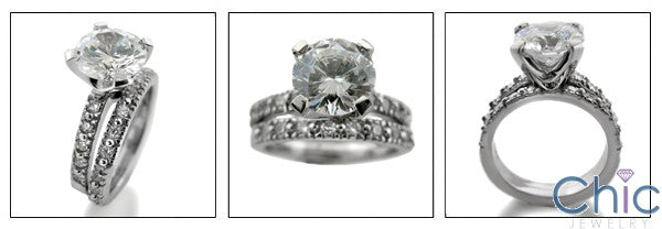 Matching Set 2.25 Round Center Eternity Cubic Zirconia Cz Ring
