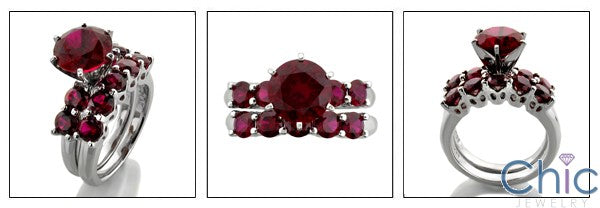 Matching Set 2 Ct Ruby Center Round in Prongs Cubic Zirconia Cz Ring