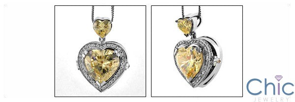 Cubic Zirconia Cz 7 Ct Heart Canary Bail Pendant