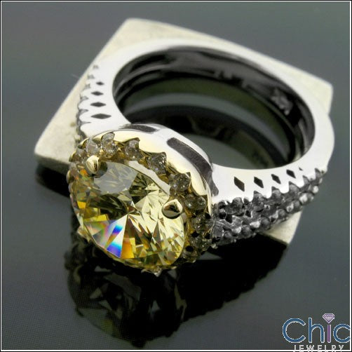 Anniversary 2.5 Canary Round Two Tone Cubic Zirconia Cz Ring