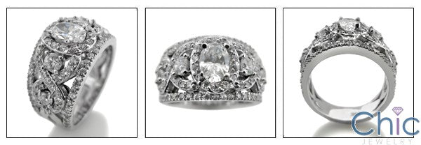 Anniversary Oval 1 Ct pave Cubic Zirconia 14K White Gold Ring