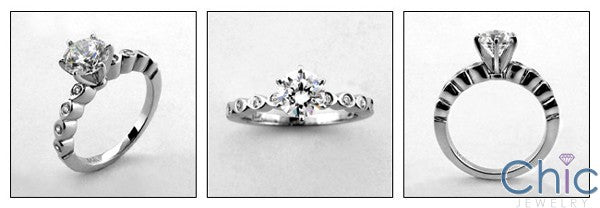 Engagement Dainty 1 Ct Round Center Cubic Zirconia Cz Ring