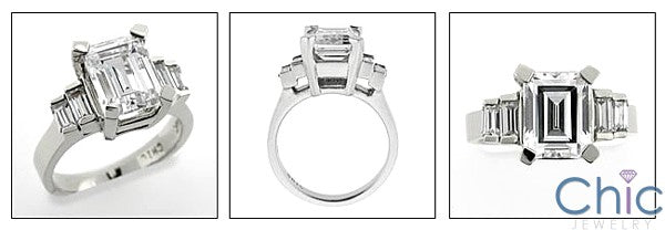 Cubic Zirconia  3 Carat Emerald Cut Step Baguette Channel 14K White Gold Ring