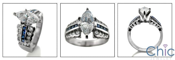 Engagement 2.5 Marquise Center Sapphire Channel Cubic Zirconia Cz Ring