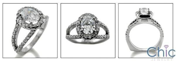 1.25 Oval Halo Euro Shank Pave Set Cubic Zirconia 14K White Gold Ring