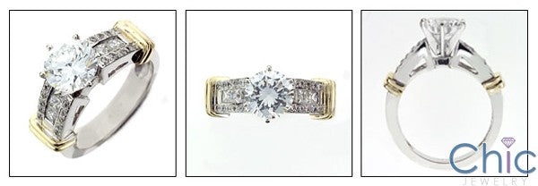 Engagement Round 2 Ct Center Two tone Bars Channel Cubic Zirconia Cz Ring
