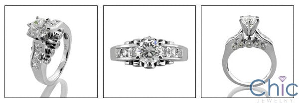 Engagement 1 Ct Round Center Channel Princess Bezel Cubic Zirconia Cz Ring