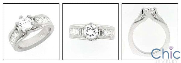 Engagement Round 1 Ct Diaomond CZ Ct Channel Princess Cubic Zirconia Cz Ring