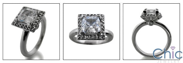Engagement Princess 1.25 Center Halo No Cubic Zirconia Cz Ring