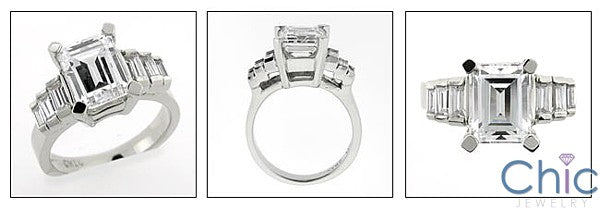 HIgh Quality Cubic Zirconia Emerald Cut 3 Carat Channel Baguettes Ring 14K White Gold