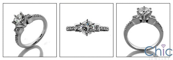 Engagement 1 Ct Round Center Tiffany 6 Prongs Cubic Zirconia Cz Ring