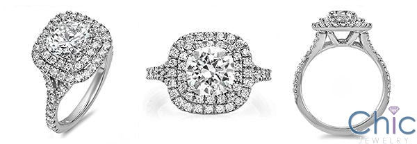 Tiffany Soleste Style 2 Carat Rounded Cushion Cubic Zirconia Ring  Halo Pave 14K W Gold