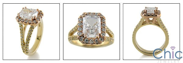 3 Carat Radiant Cubic Zirconia Rose Gold Halo Yellow Shank Ring