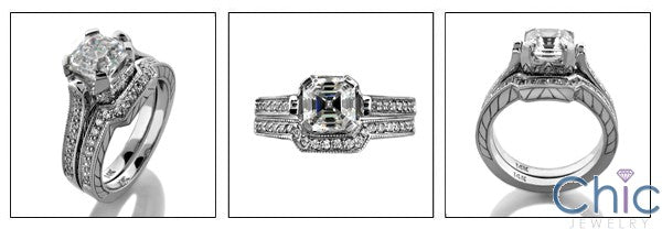 Matching Set 1.5 Asscher Pave Fitted Engraved Cubic Zirconia Cz Ring
