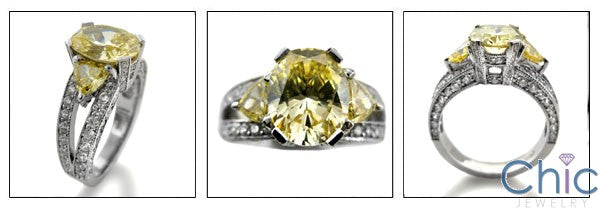 Canary 3 Carat Oval With  Trillion Cubic Zirconia Anniversary 14K White Gold Ring