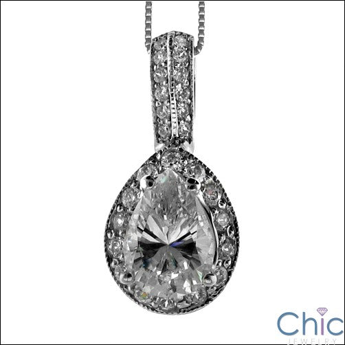 Cubic Zirconia Cz 2 Ct . Pear in Pave Pendant