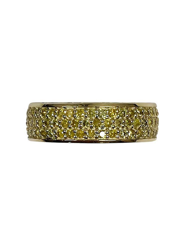 Canary CZ Pave Set Wedding Band for Her 14K Yellow Gold