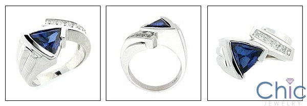 Anniversary 3 Ct Sapphire Triangle bezel Cubic Zirconia Cz Ring
