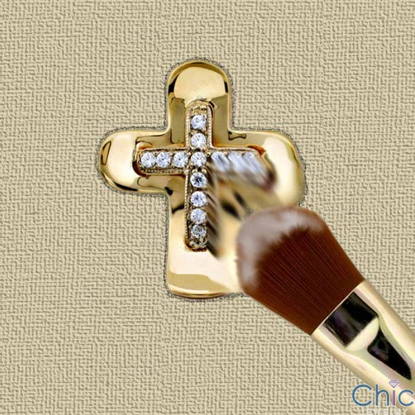 Cubic Zirconia Cz .25 TCW Two Tone Gold Cross Pendant