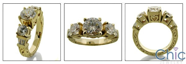 Estate Round Stone18K Gold Engraved Shank Cubic Zirconia Cz Ring