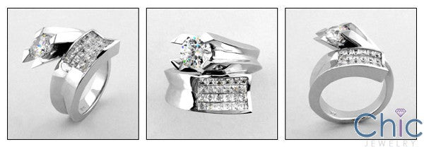 Cubic Zirconia Engagement 1 Carat Round Brilliant CZ invisible Set 14k White Gold Ring