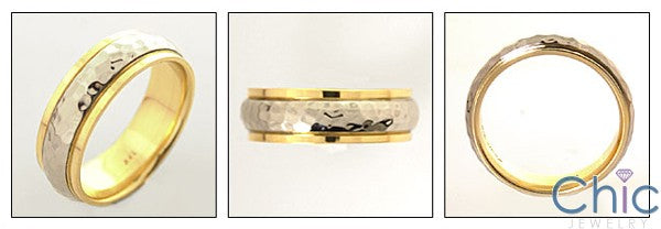 Mens Two Tone Gold Wedding Hammered Band