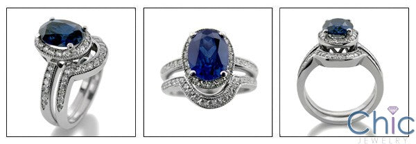 Matching Set 2.5 Sapphire Oval Center Pave Curved Cubic Zirconia Cz Ring