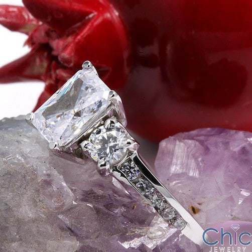 Engagement Radiant 1.5 Ct Center Cubic Zirconia Cz Ring