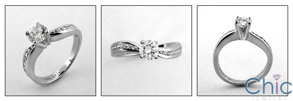 Engagement .60 Round CZ Channel Round Cubic Zirconia Cz Ring