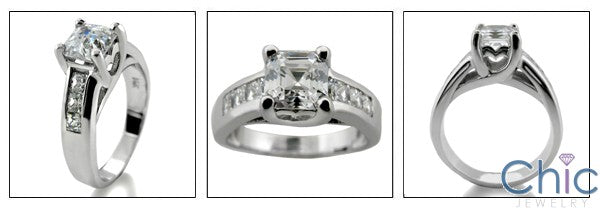 Engagement 1 Ct Royal Asscher Lucida Style Cubic Zirconia Cz Ring