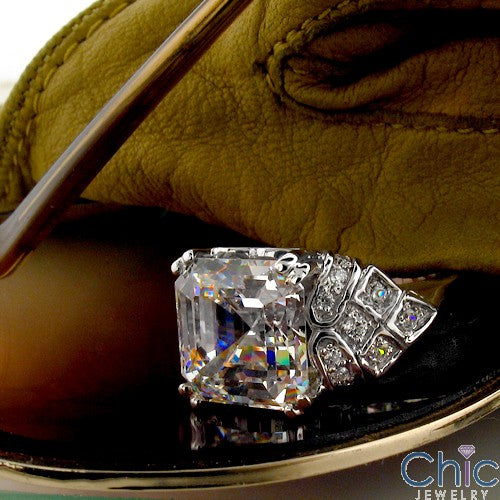 6 Carat Asscher Cubic Zirconia Center Pave Sides Estate Ring 14k White Gold