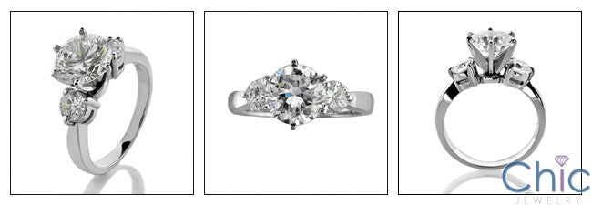 3 Stone 2 Ct Round Center Cubic Zirconia Cz Ring