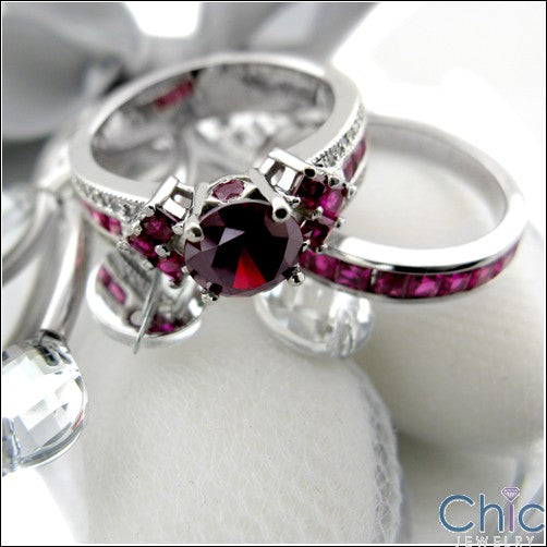 Matching Set TCW 4 Ct Round Princess Ruby Cubic Zirconia Cz Ring
