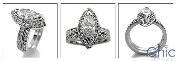 Matching Set 1.5 Marquise Center Pave Fitted Cubic Zirconia Cz Ring