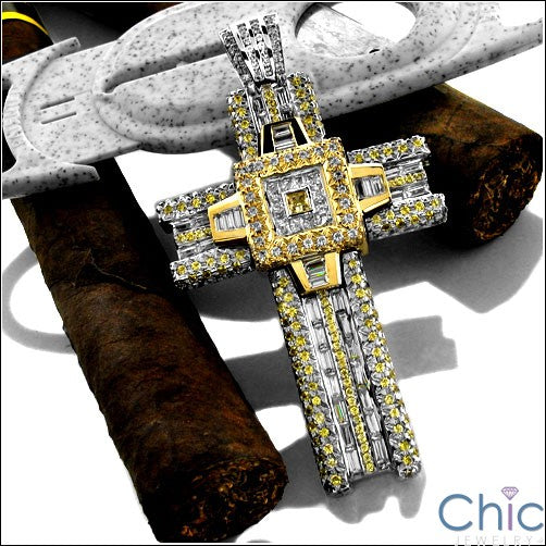 Canary Ct Diamond Two Tone Cross