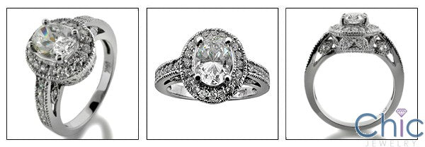 Estate 1.25 Oval Center Pave Antigue Style Cubic Zirconia Cz Ring