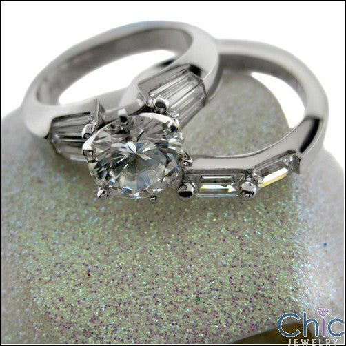 Matching Set 2.75 Ct Round Center Baguettes Cubic Zirconia Cz Ring