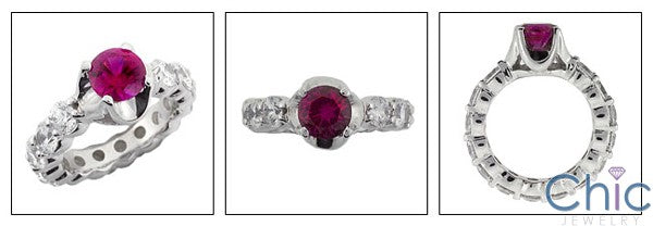 Eternity Ruby 1 Ct Round Center Eternity Cubic Zirconia Cz Ring