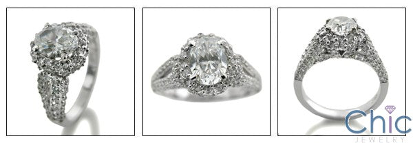 Cubic Zirconia Oval 1.5 Carat Ring With Pave Halo 14K White Gold Ring