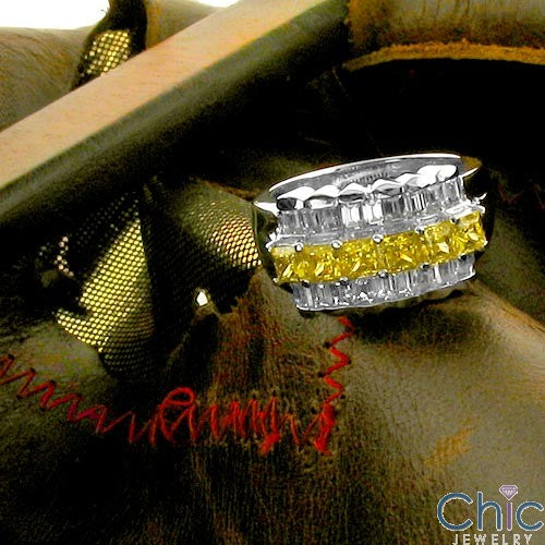 Anniversary Canary Princess diamond Baguette CZ Cubic Zirconia Cz Ring