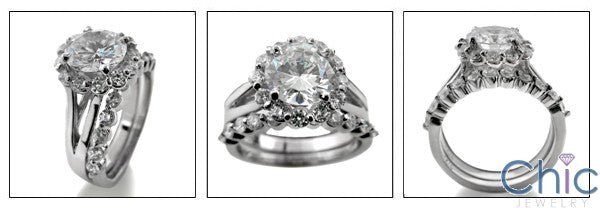 Matching Set 2 Ct Round Center Halo Ct Share Prong Wedding Cubic Zirconia Cz Ring
