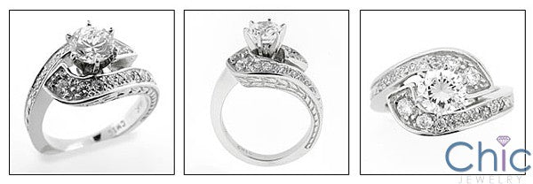 Cubic Zirconia Twist Engagement Ring 1 Carat Round Center Pave 14K White Gold