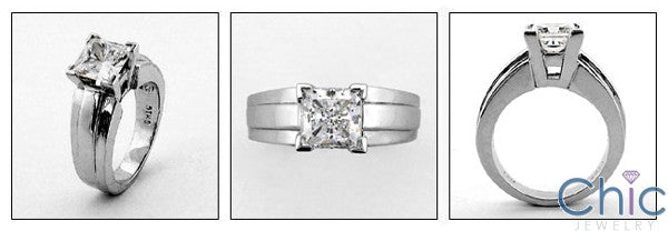 Solitaire 1.5 Ct Princess Square Center Cubic Zirconia Cz Ring