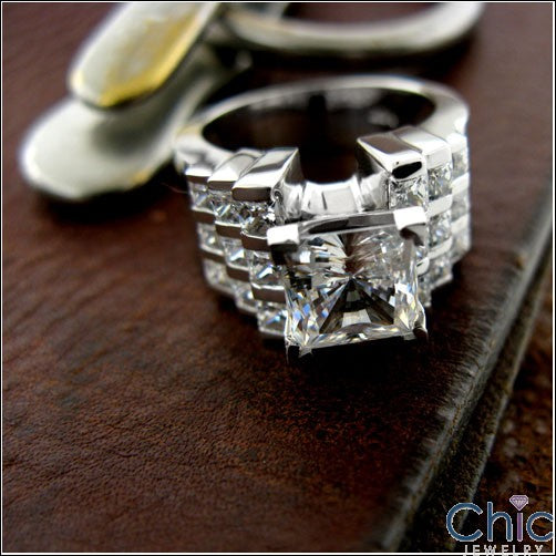 Engagement 12mm 2 Ct Princess Cubic Zirconia Cz Ring