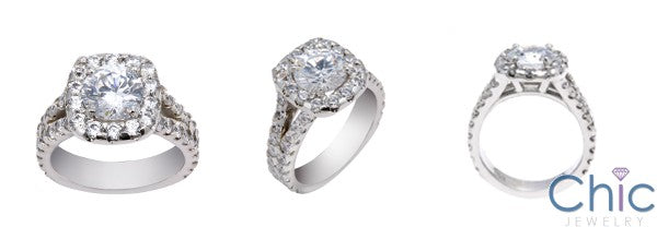 Engagement 1.5 Round Center Halo Ct Split Shank Cubic Zirconia Cz Ring