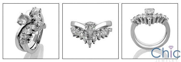 Matching Set .75 Pear Solitaire Prong Set Fitted Wedding Cubic Zirconia Cz Ring