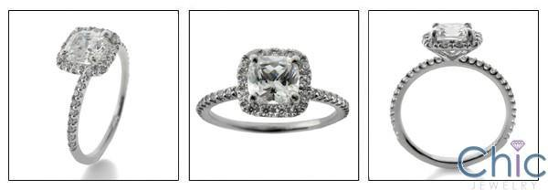 1 Carat Cushion Center Pave Halo Narrow Band Cubic Zirconia Engagement 14K White Gold Ring