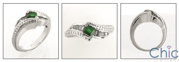 Anniversary Green Emerald Princess Baguettes in Channel Cubic Zirconia Cz Ring
