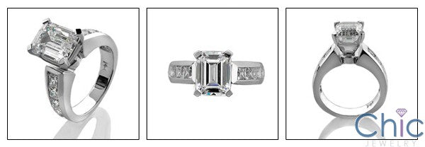Emerald Cut Cubic Zirconia 2 Carat Center Channel Sides 14K White Gold Engagement Ring